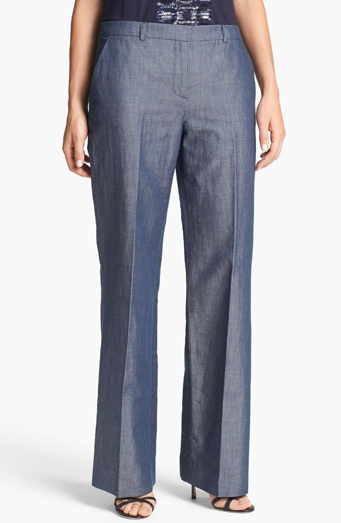 Alternate Image 1 Selected - Adrianna Papell Wide Leg Chambray Pants