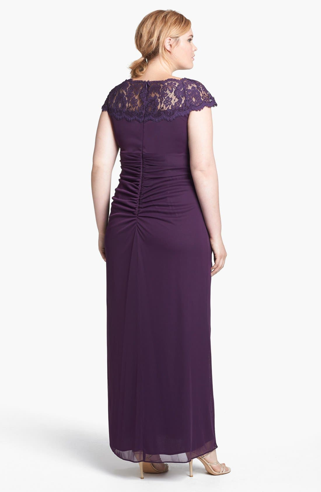 Alternate Image 2  - Xscape Lace Yoke Mesh Gown (Plus Size)