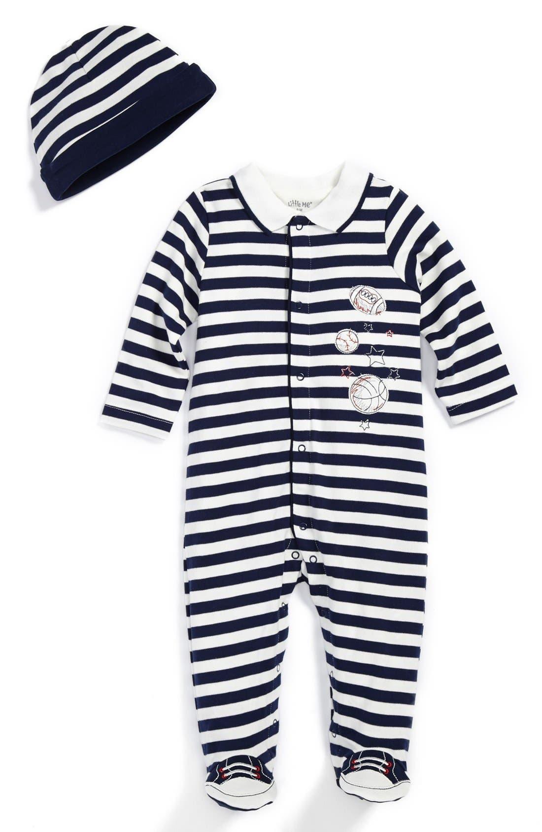 Alternate Image 1 Selected - Little Me 'Sport Star' Footie & Hat (Baby Boys)
