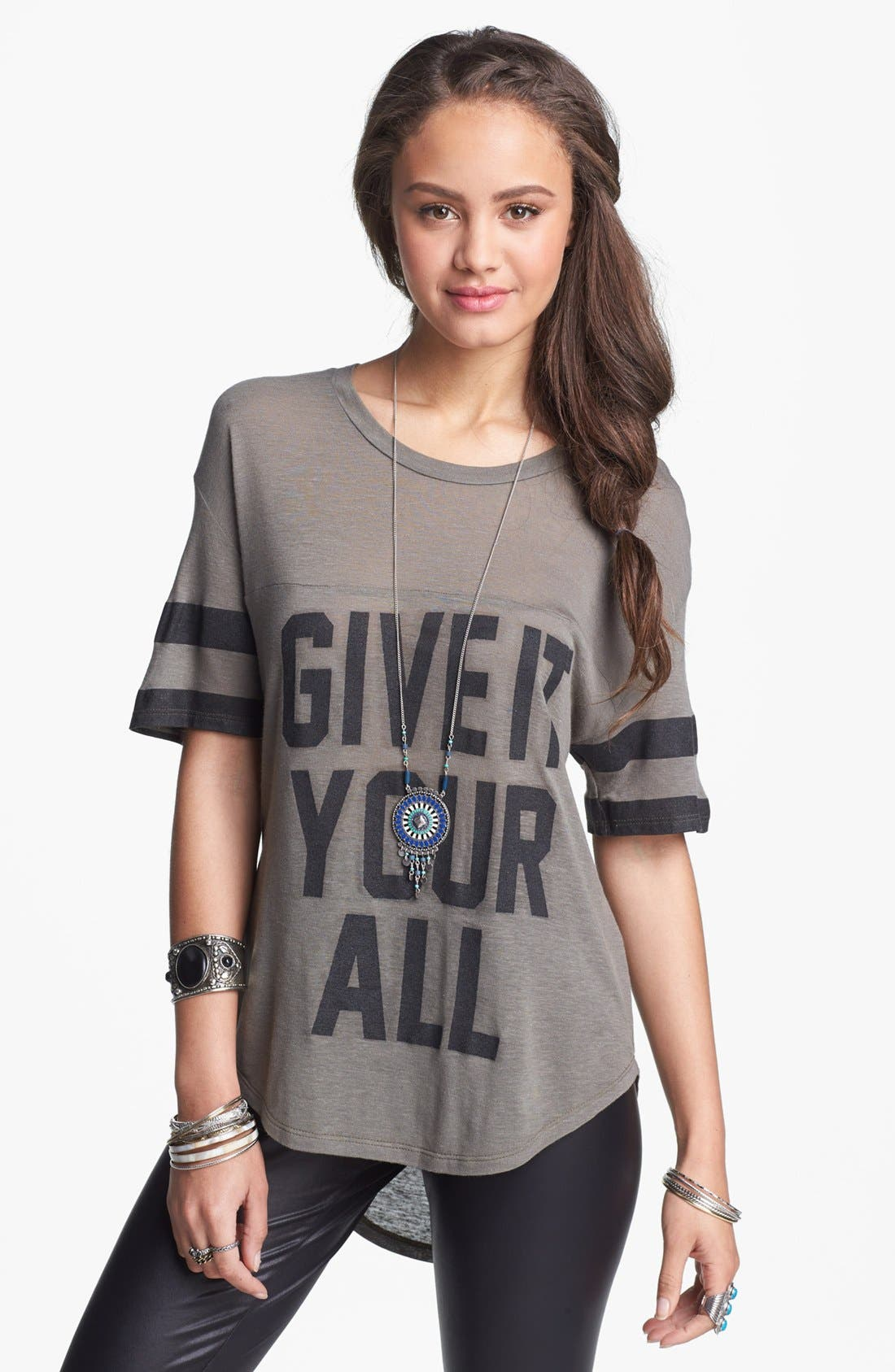 Alternate Image 1 Selected - Lush 'Give It Your All' Graphic Athletic Tee (Juniors)