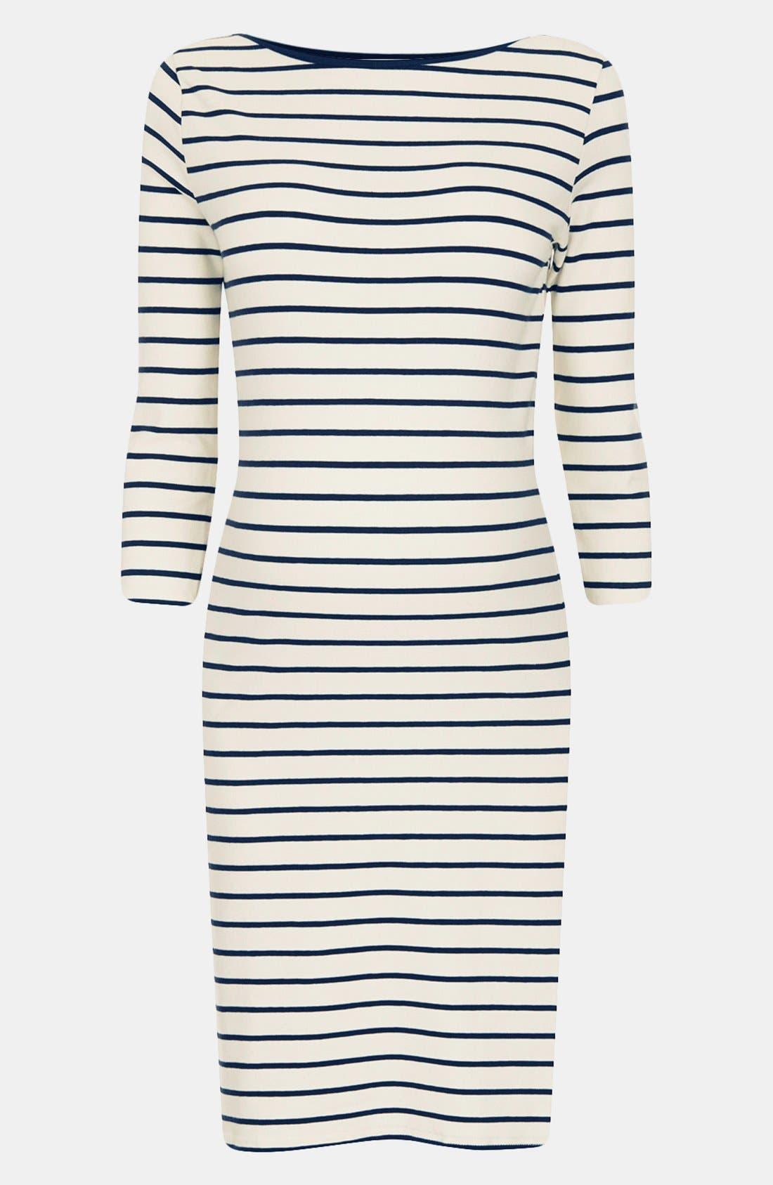 Main Image - Topshop Breton Stripe Body-Con Maternity Dress