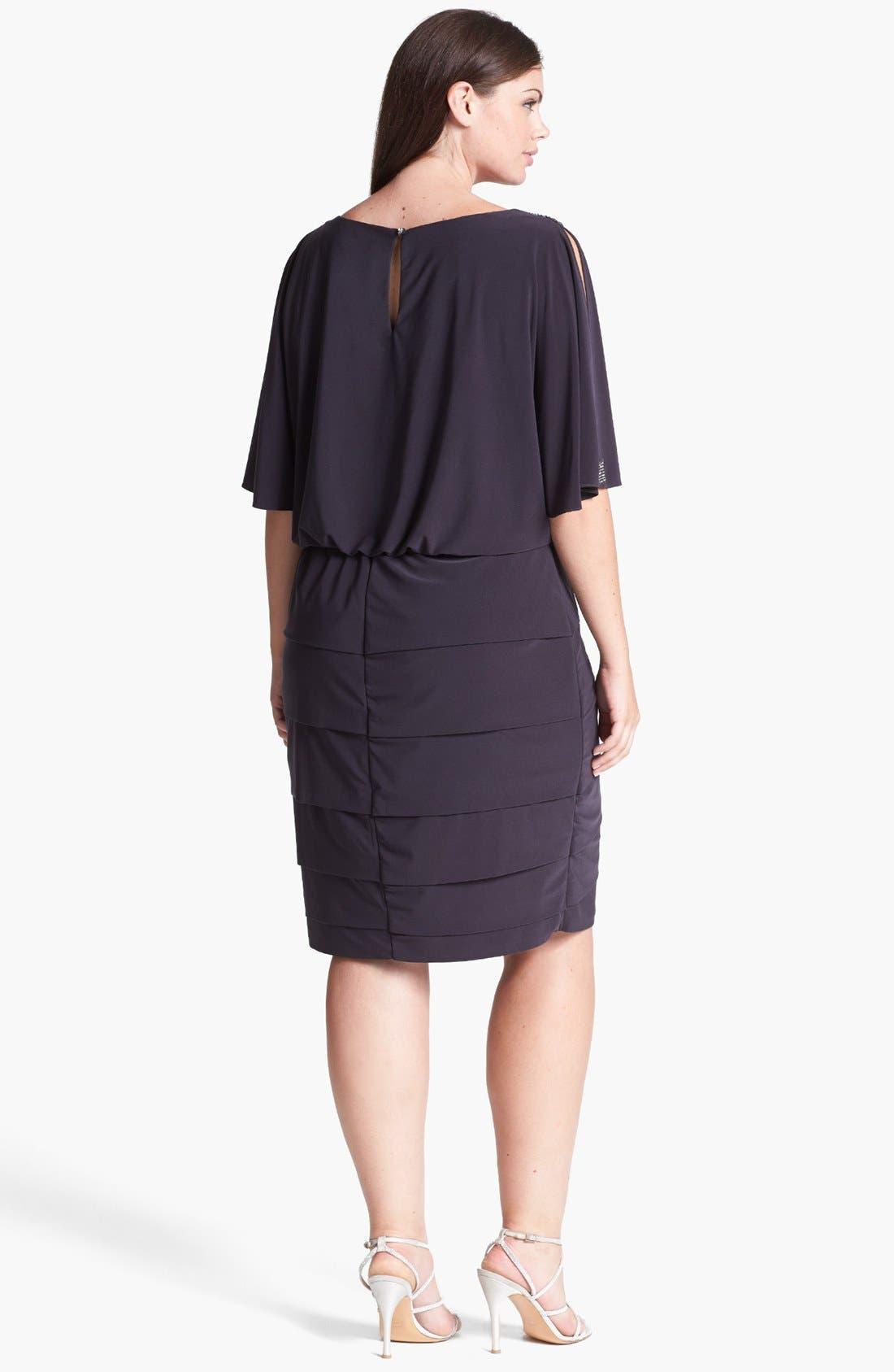 Alternate Image 2  - Xscape Embellished Cold Shoulder Blouson Dress