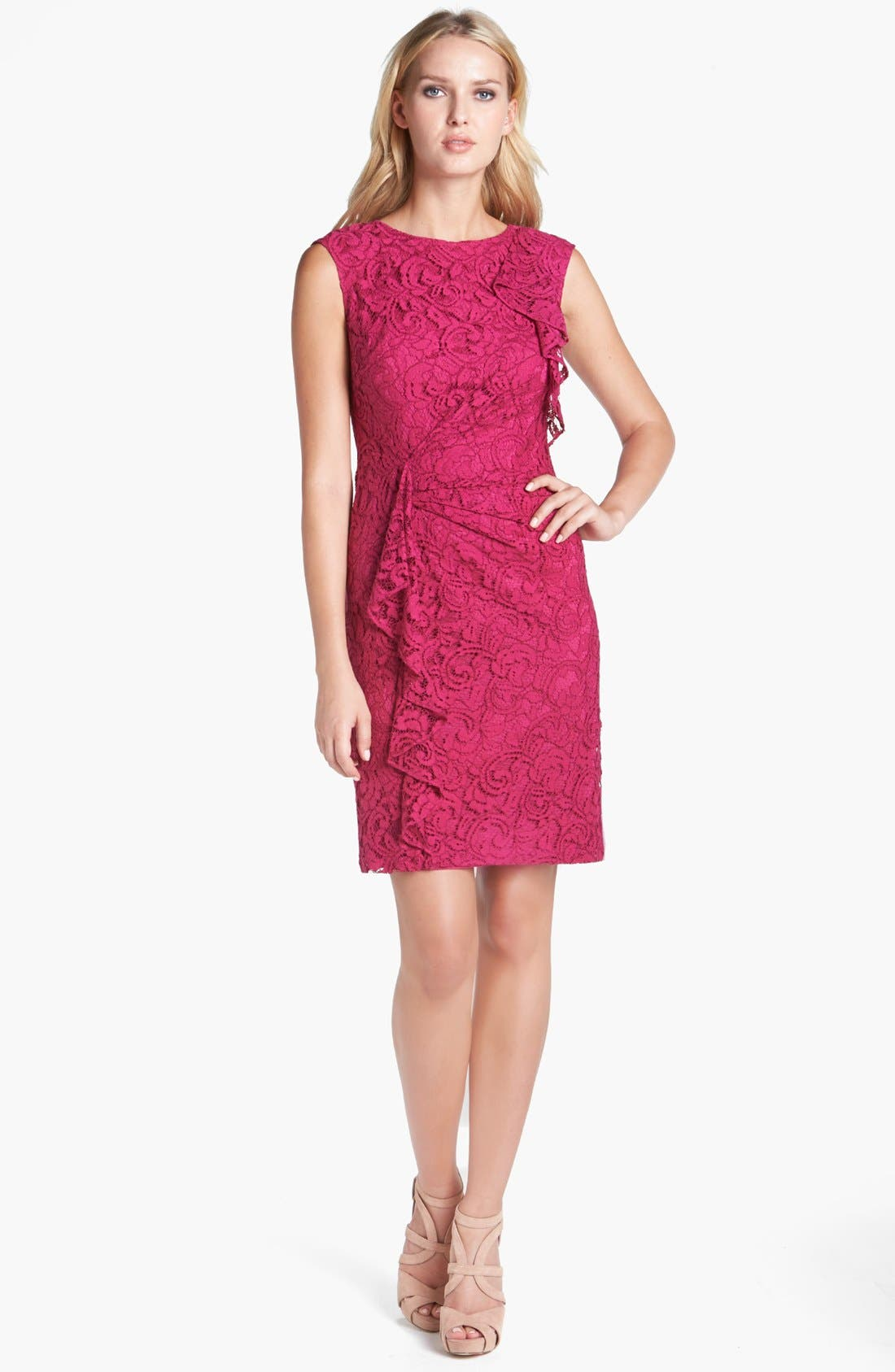 Alternate Image 1 Selected - Adrianna Papell Ruffled Lace Sheath Dress