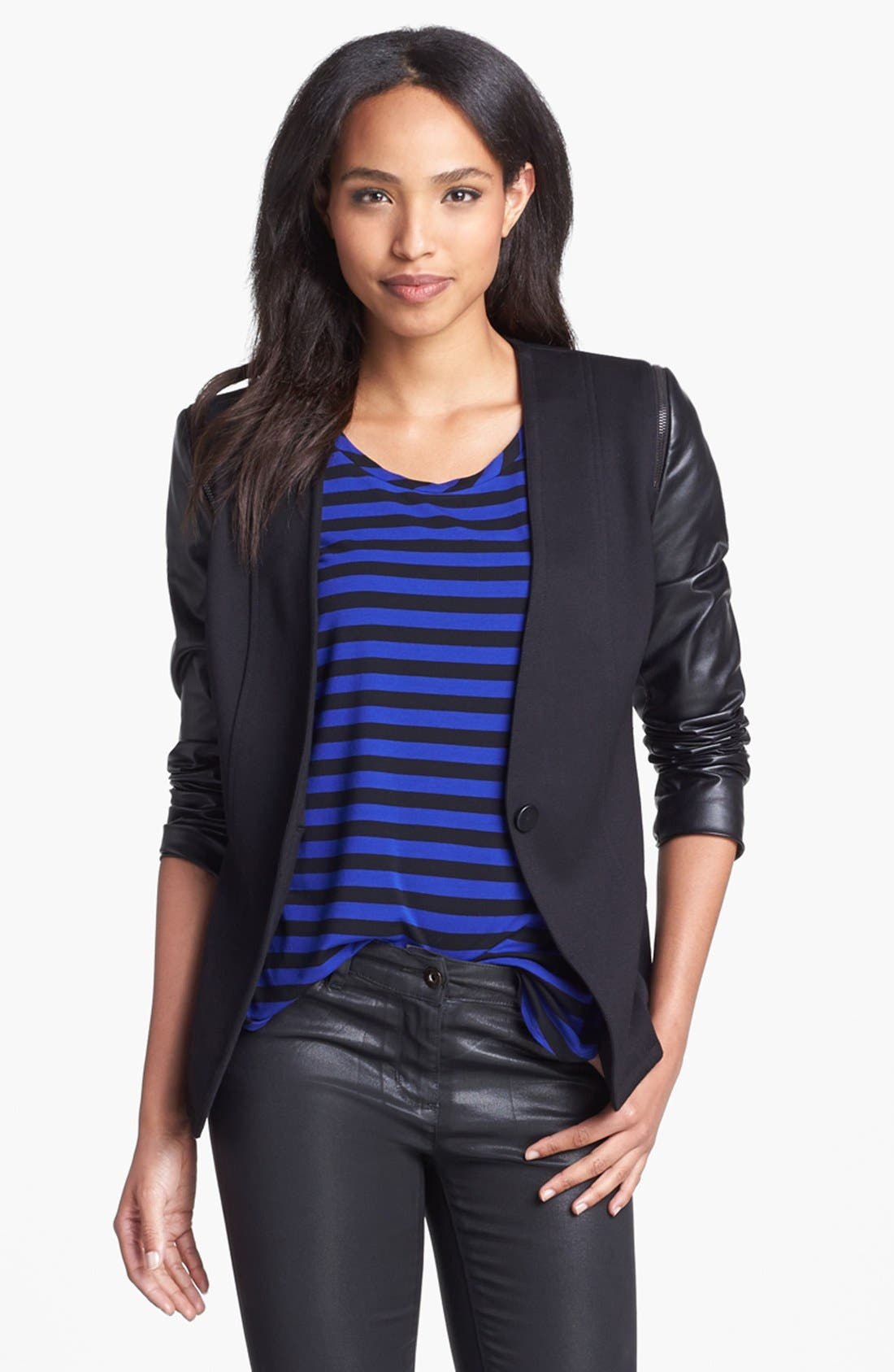 Main Image - Vince Camuto Collarless Faux Leather Sleeve Jacket