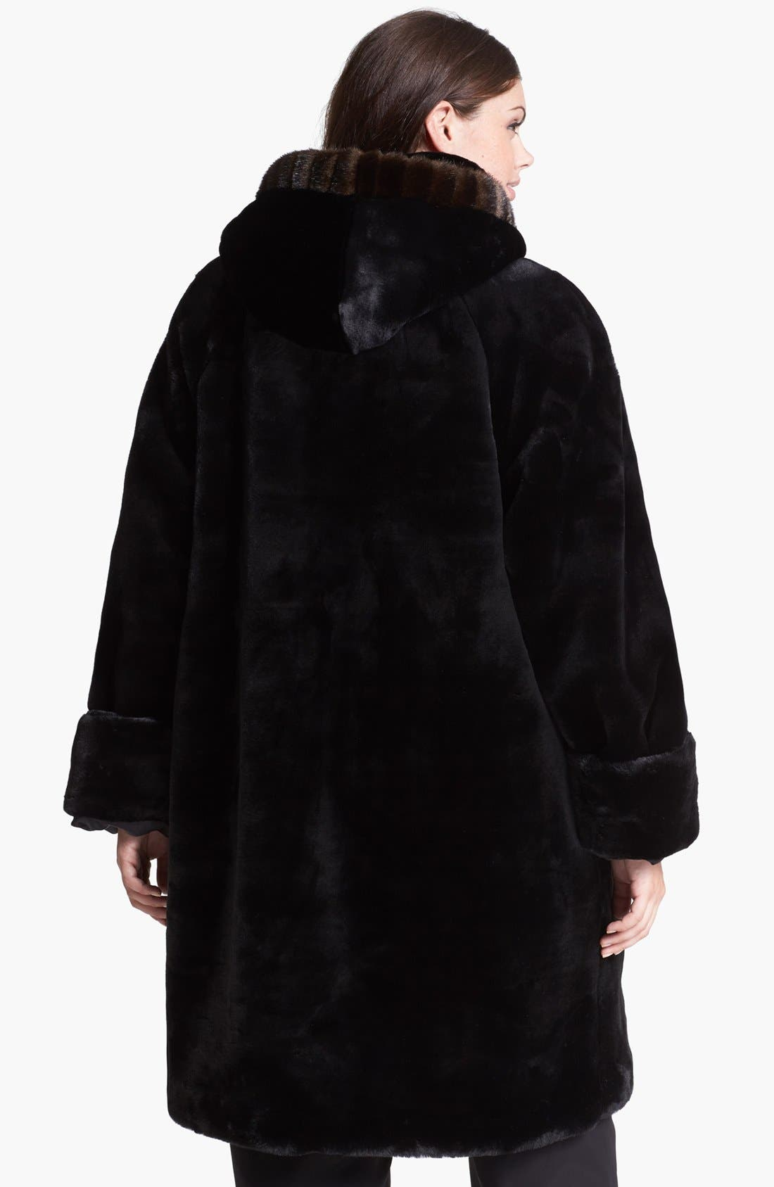 Alternate Image 2  - Gallery Hooded Faux Fur Walking Coat (Plus Size)