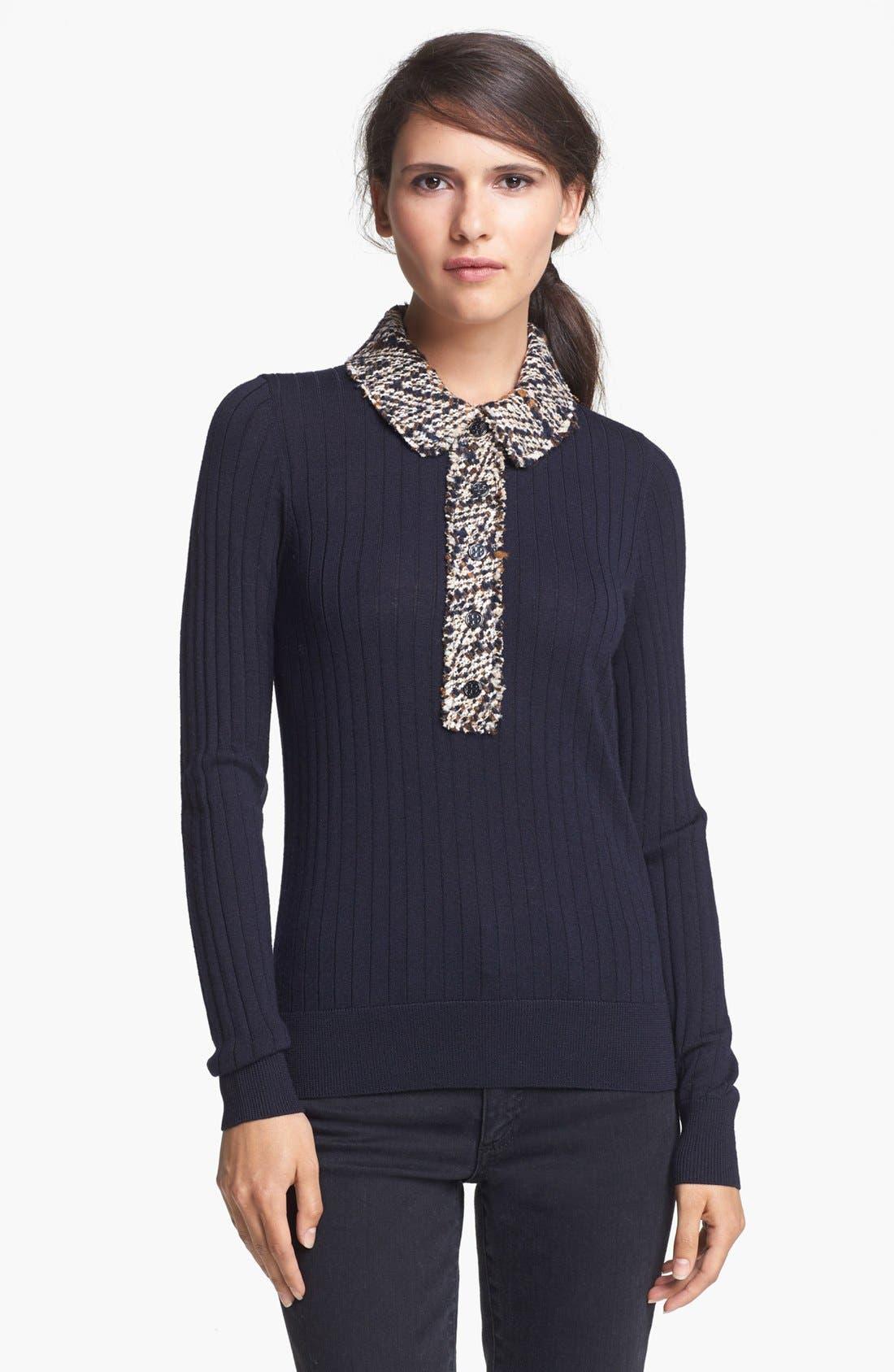 Alternate Image 1 Selected - Tory Burch 'Zelda' Merino Wool Sweater