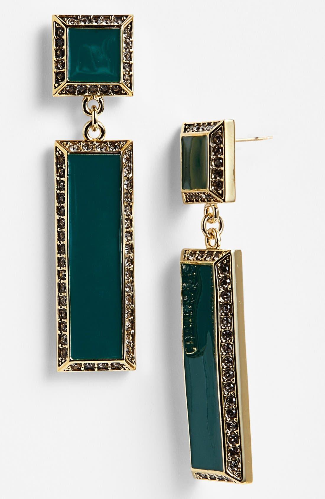 Alternate Image 1 Selected - St. John Collection Enamel & Swarovski Crystal Drop Earrings
