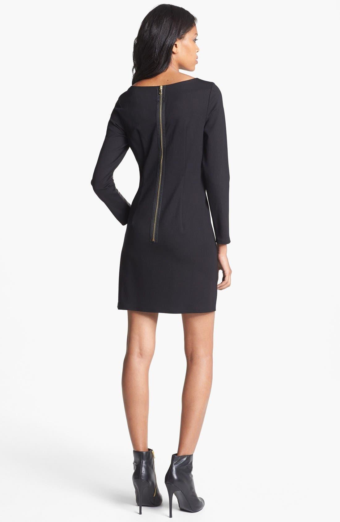 Alternate Image 2  - ALICE & TRIXIE 'Lourdes' Leather & Ponte Knit Dress