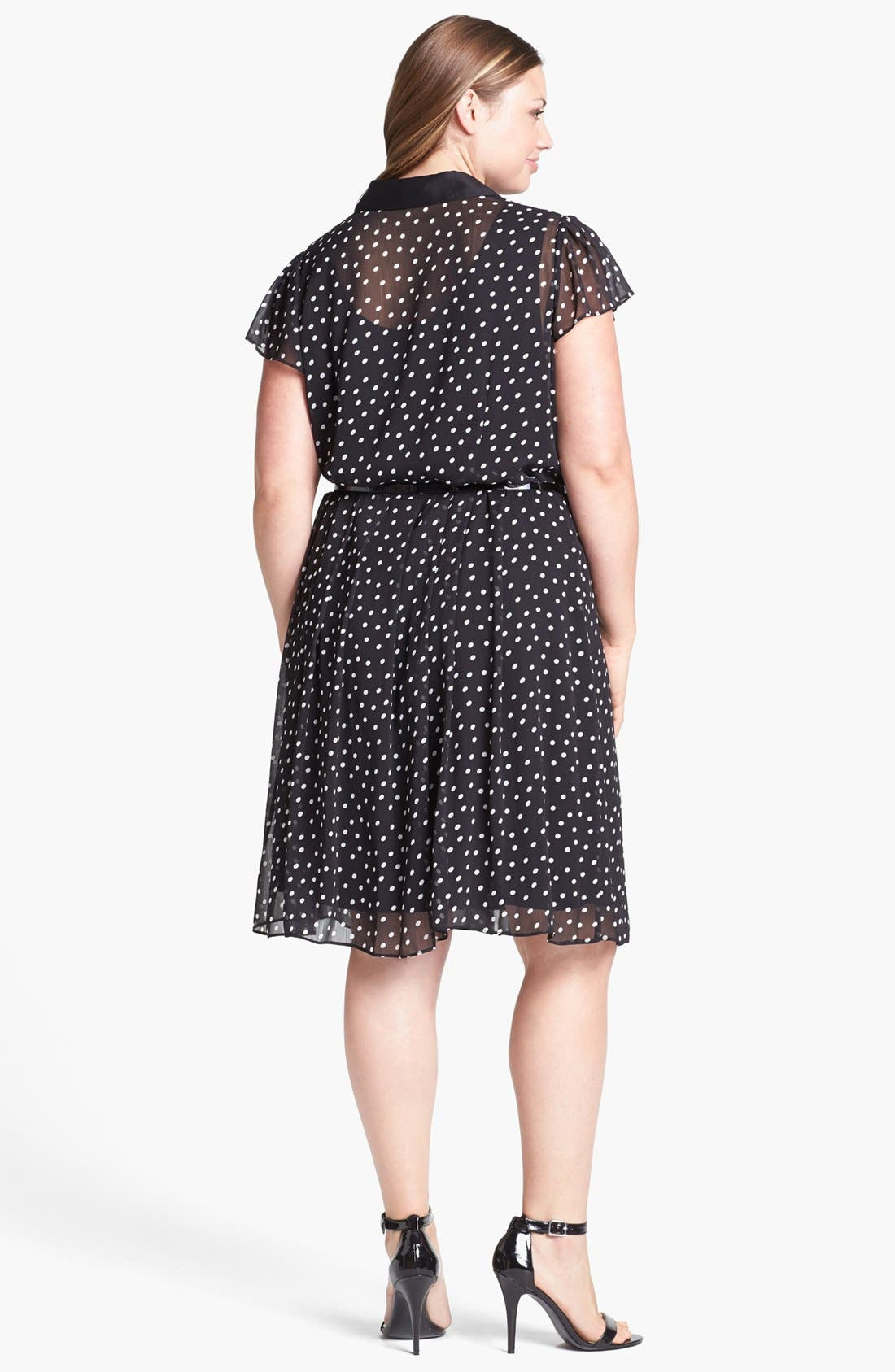 Alternate Image 2  - Donna Ricco Polka Dot Chiffon Shirtdress (Plus Size)
