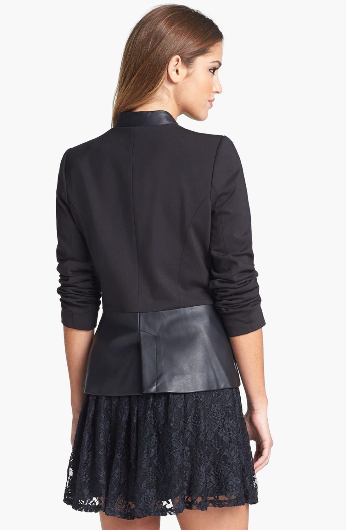 Alternate Image 3  - Jessica Simpson 'Thatcher' Ponte & Faux Leather Blazer