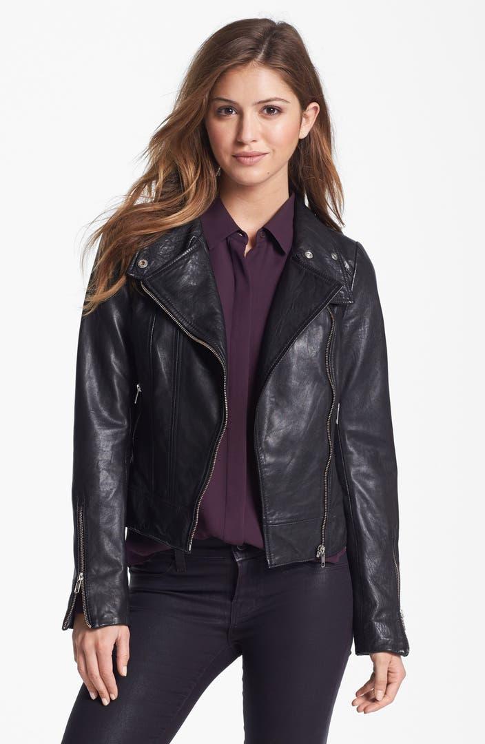 Mackage Crop Leather Moto Jacket   Nordstrom