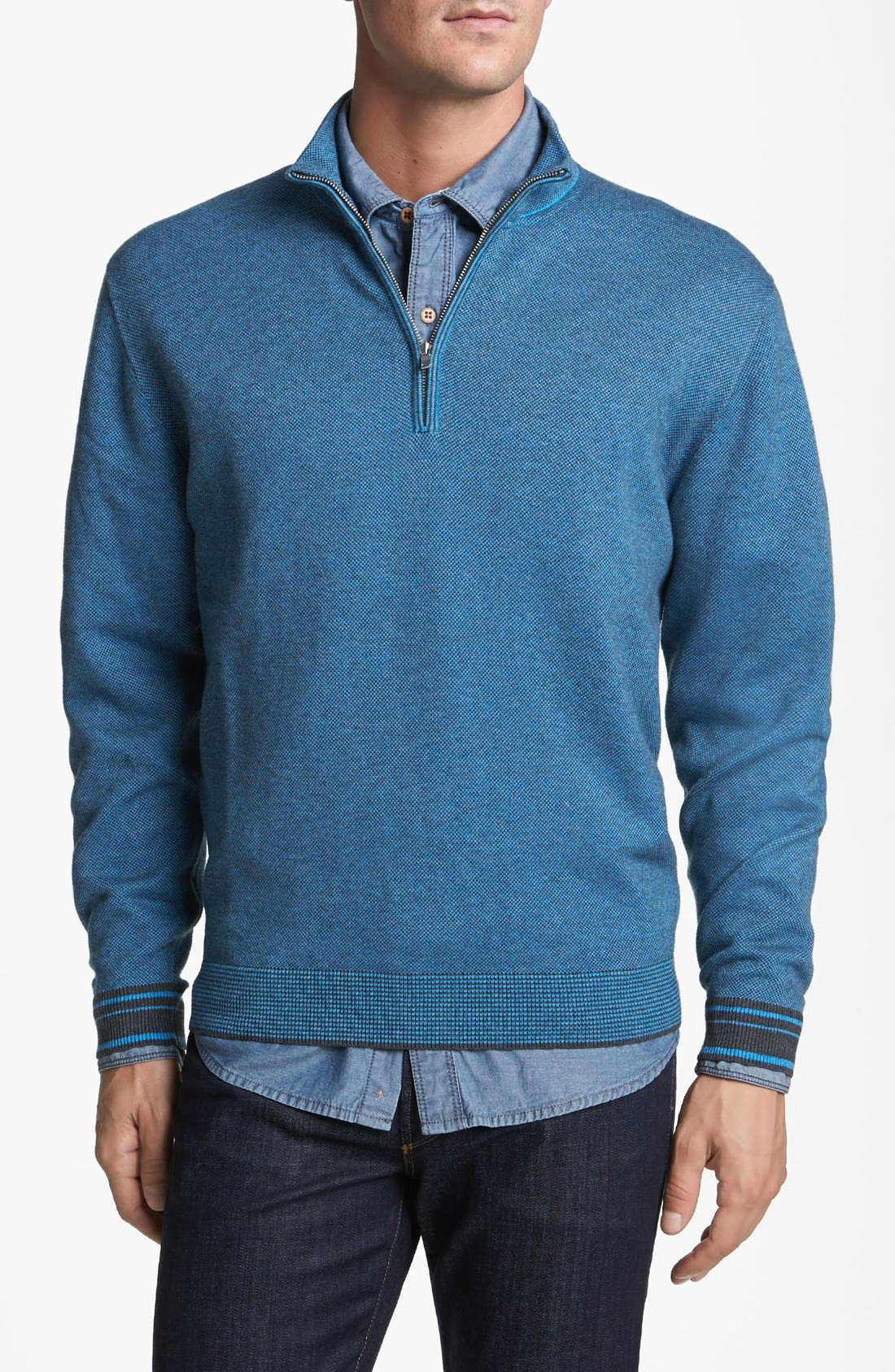 Main Image - Cutter & Buck 'Haven' Half Zip Bird's Eye Sweater (Big & Tall)