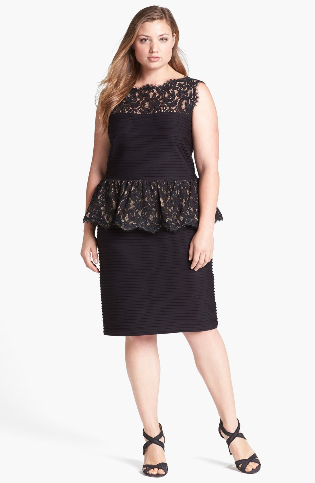 Alternate Image 1 Selected - Tadashi Shoji Lace & Jersey Peplum Dress (Plus Size)