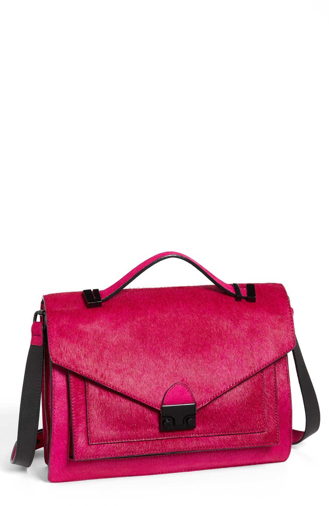 Main Image - Loeffler Randall 'Rider' Calf Hair & Leather Satchel, Medium