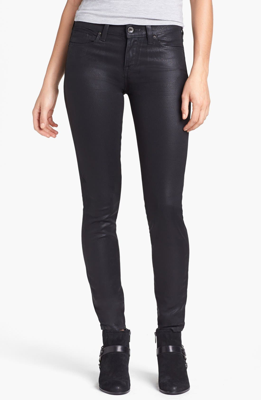 Main Image - Lucky Brand 'Sofia' Coated Skinny Jeans (Black)