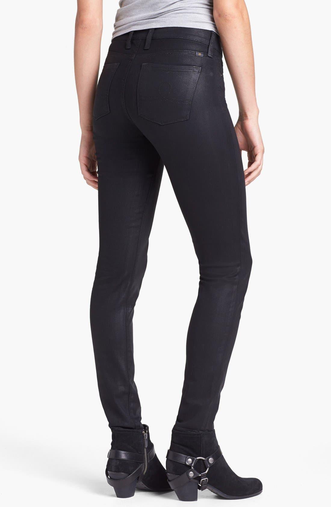 Alternate Image 4  - Lucky Brand 'Sofia' Coated Skinny Jeans (Black)