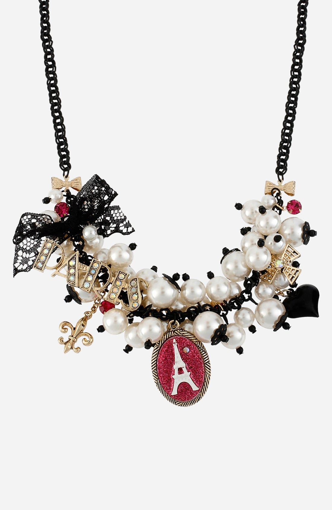 Main Image - Betsey Johnson 'Paris' Shaky Faux Pearl Frontal Necklace