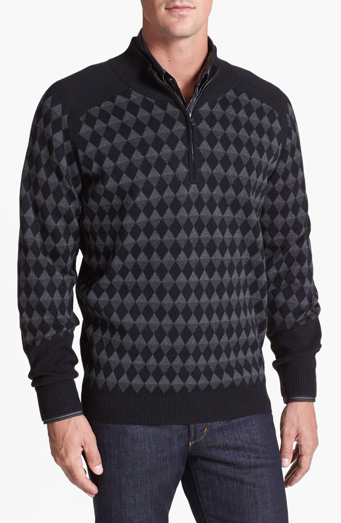 Alternate Image 1 Selected - Cutter & Buck 'Cameo Diamond' Half Zip Sweater