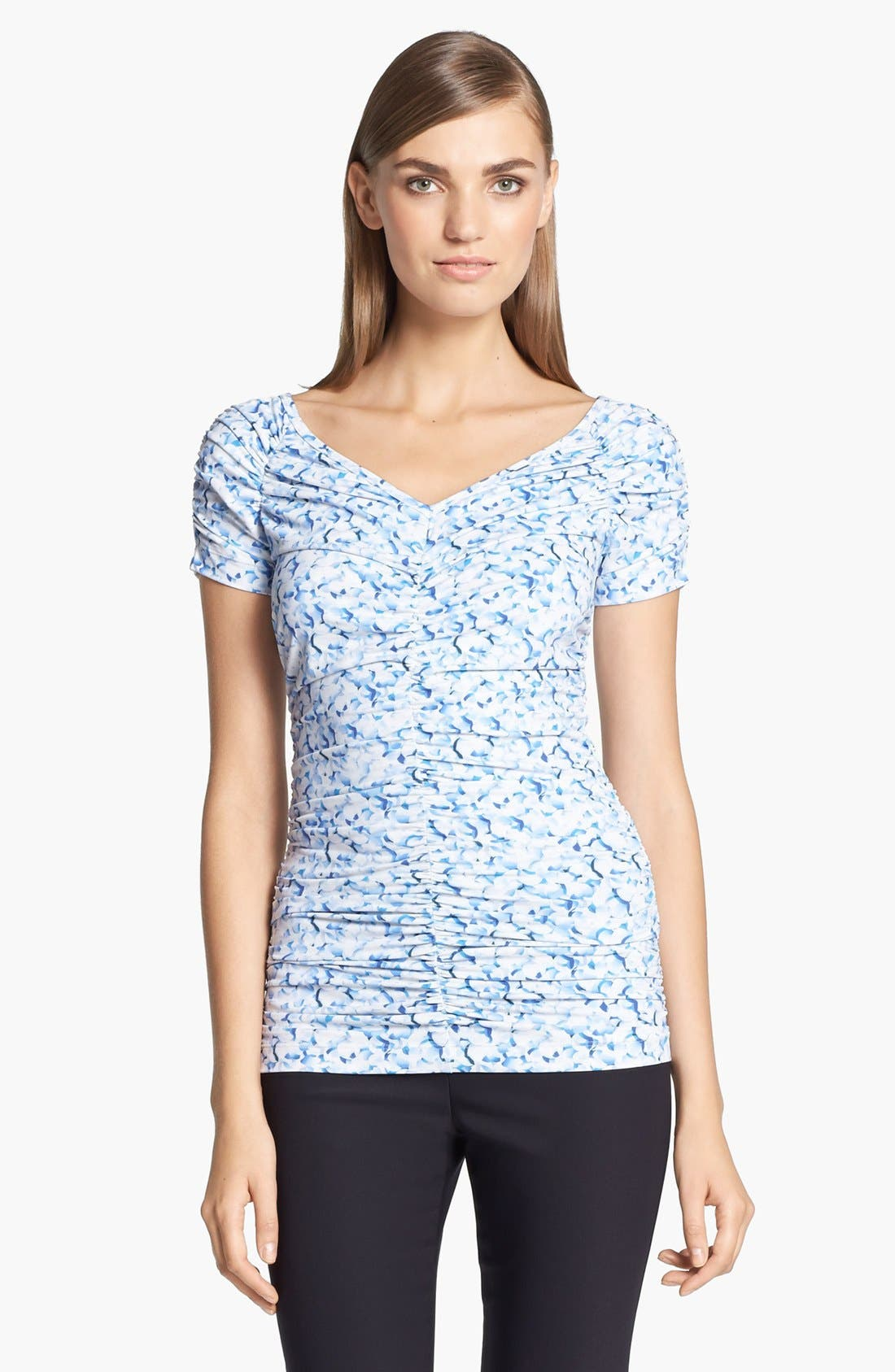 Main Image - St. John Collection Abstract Print Shirred Top