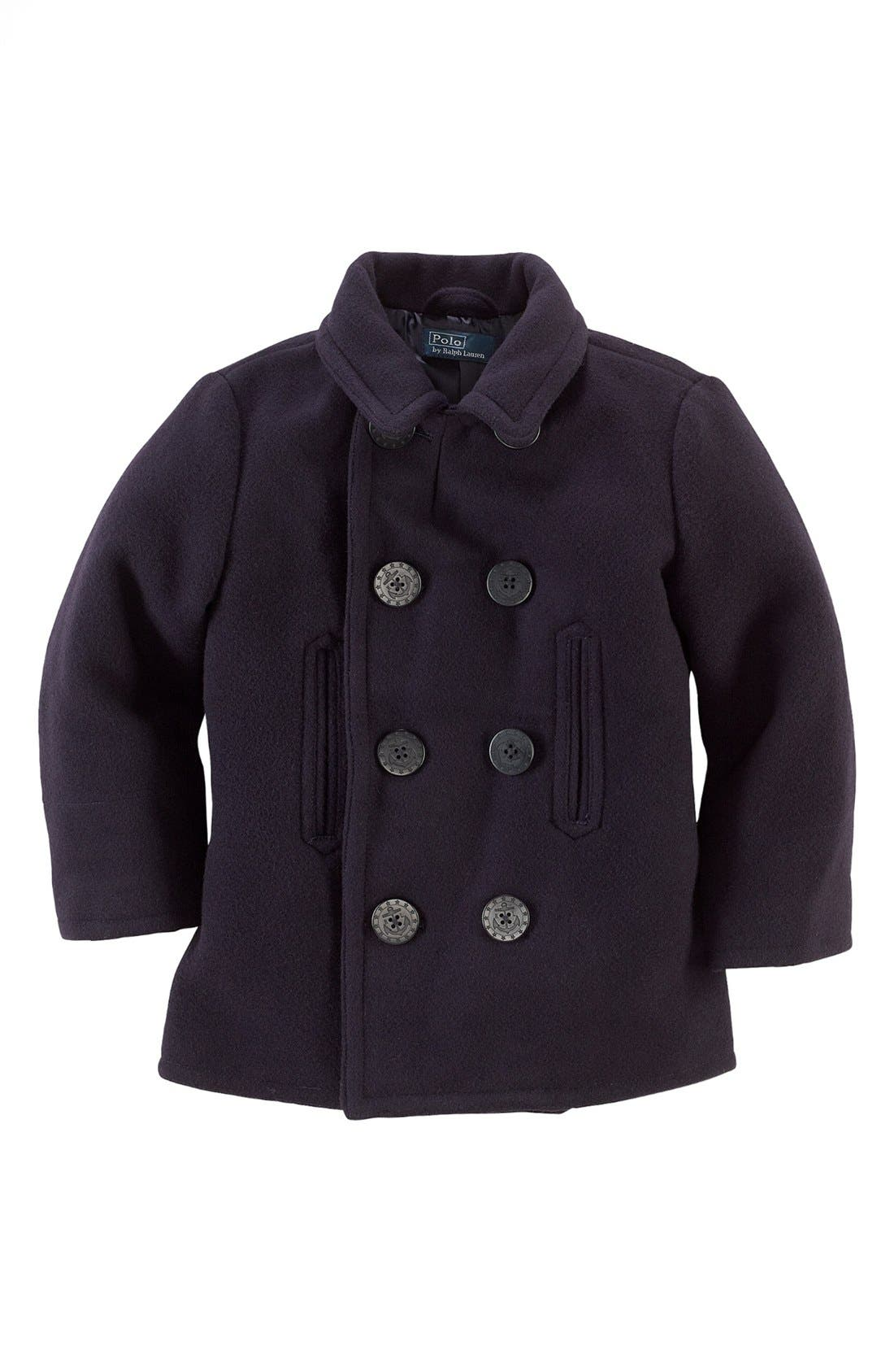 Main Image - Ralph Lauren Naval Peacoat (Toddler)