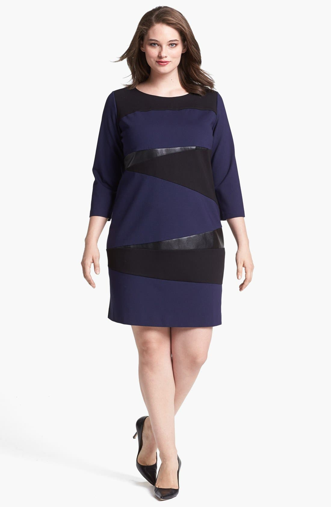Alternate Image 1 Selected - DKNYC Faux Leather Trim Shift Dress (Plus Size)
