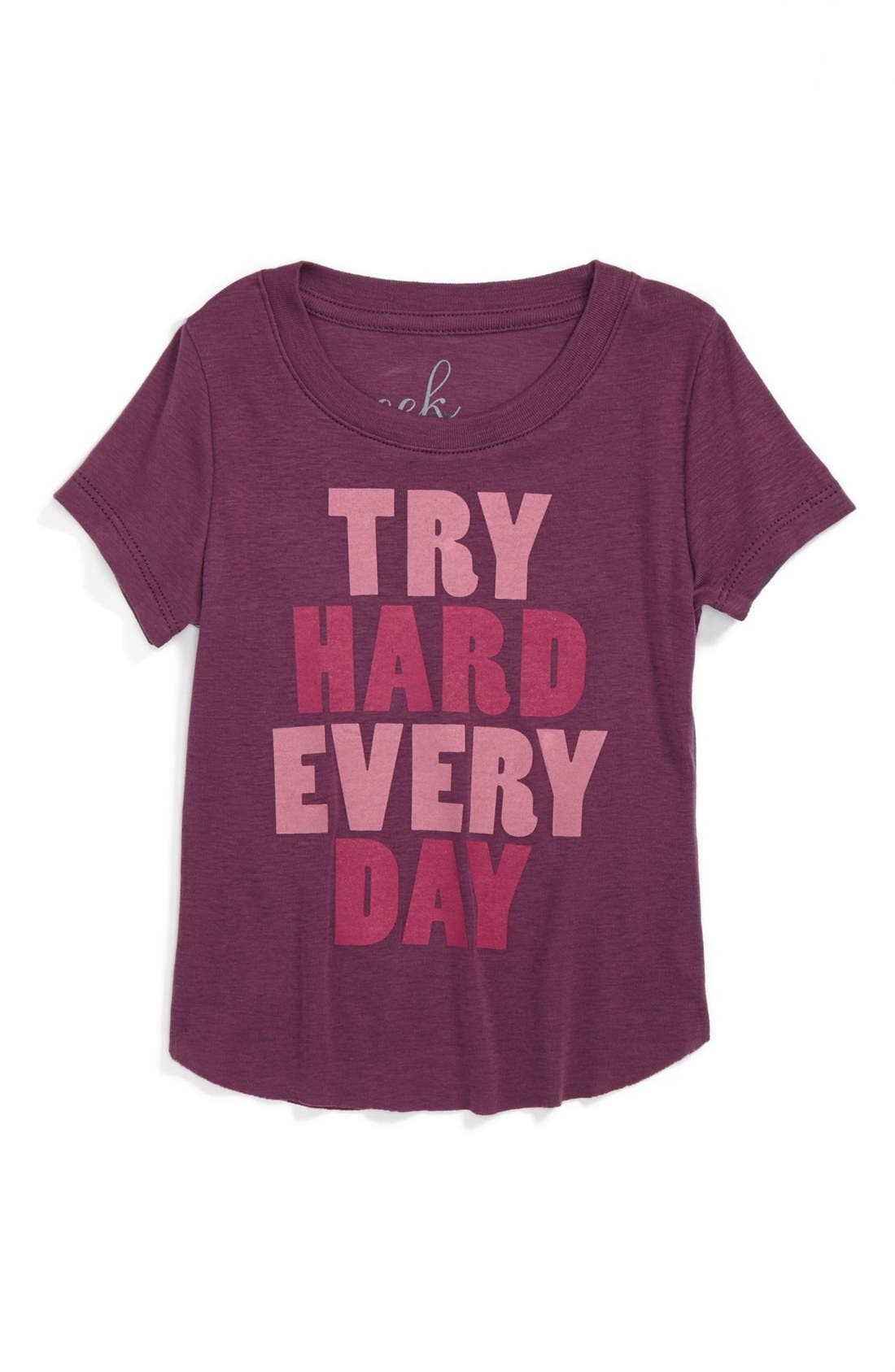 Main Image - Peek 'Try Hard Every Day' Tee (Baby Girls)