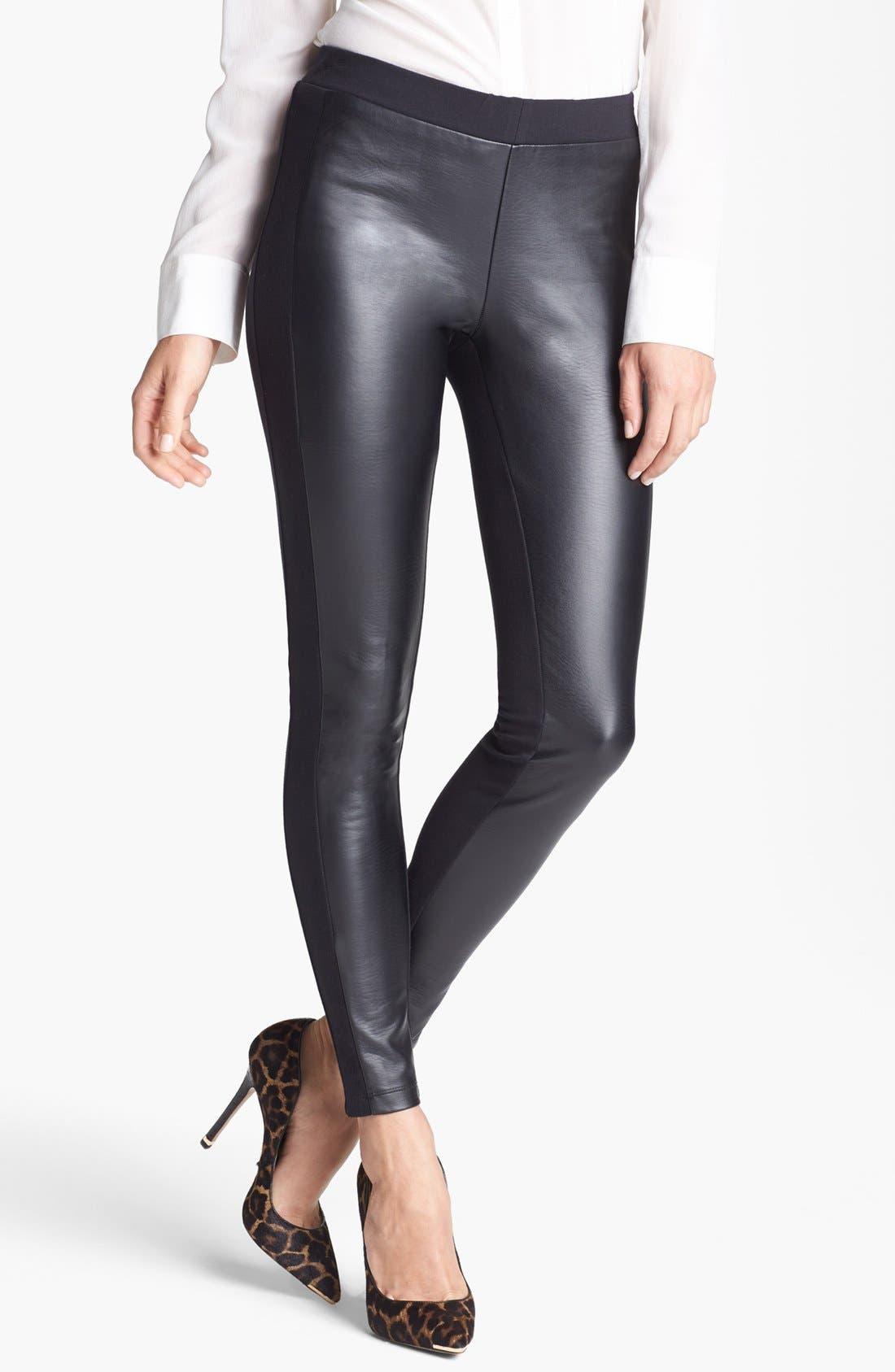 Alternate Image 1 Selected - Trouvé Faux Leather Front Leggings