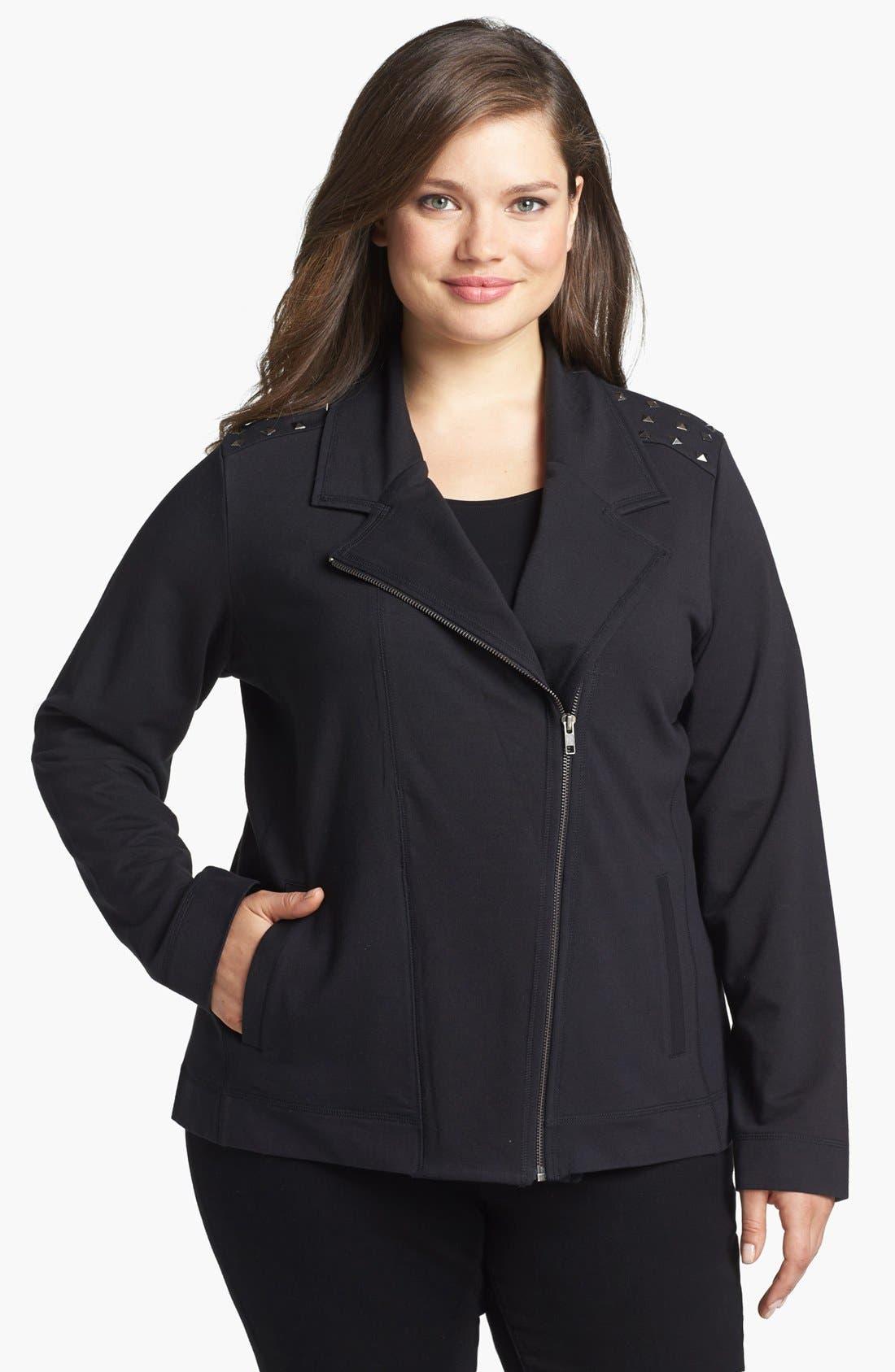 Main Image - Sejour Studded Moto Jacket (Plus Size)