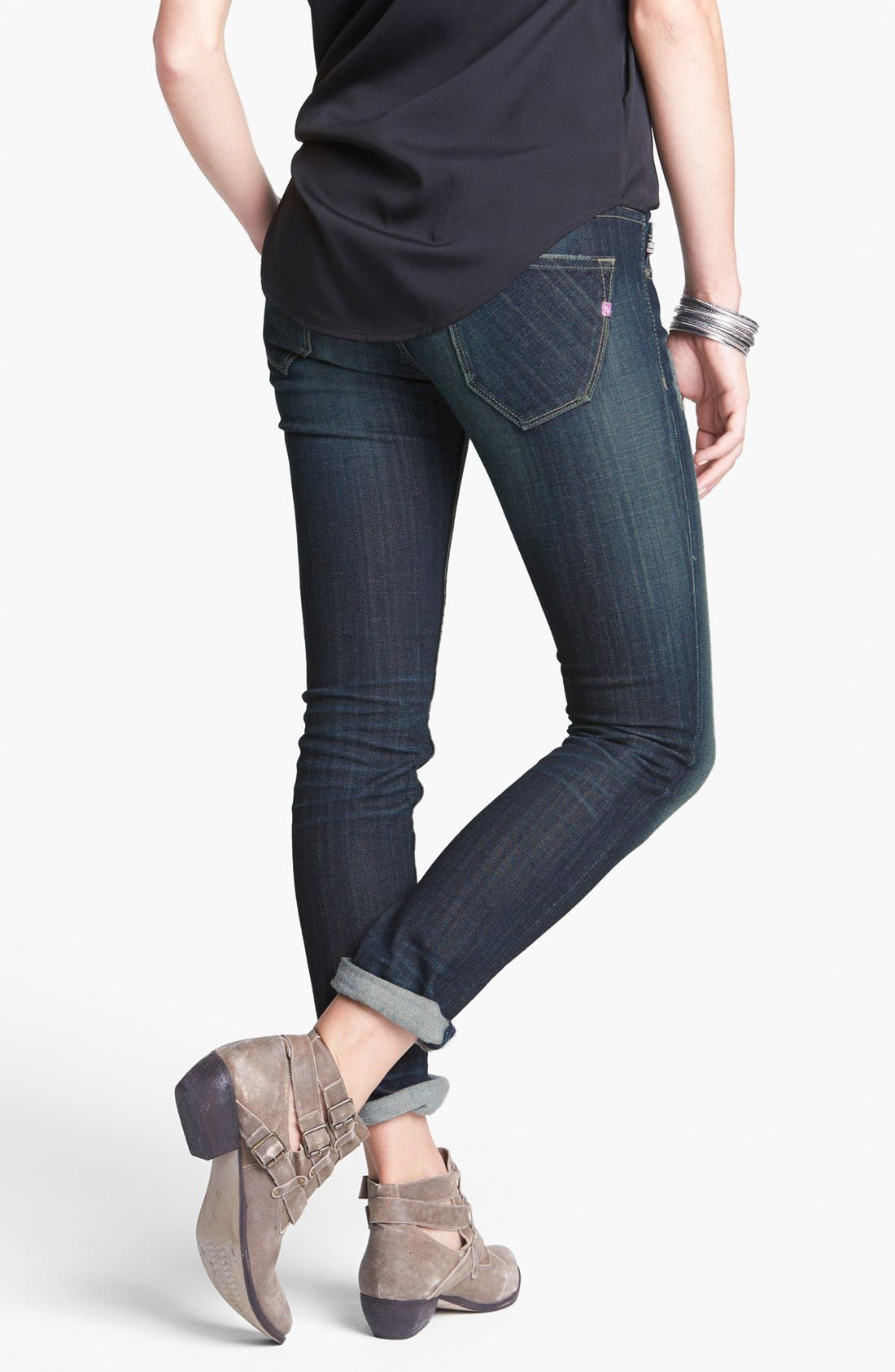 Alternate Image 2  - Vigoss 'Thompson Tomboy' Crop Skinny Boyfriend Jeans (Dark) (Juniors)