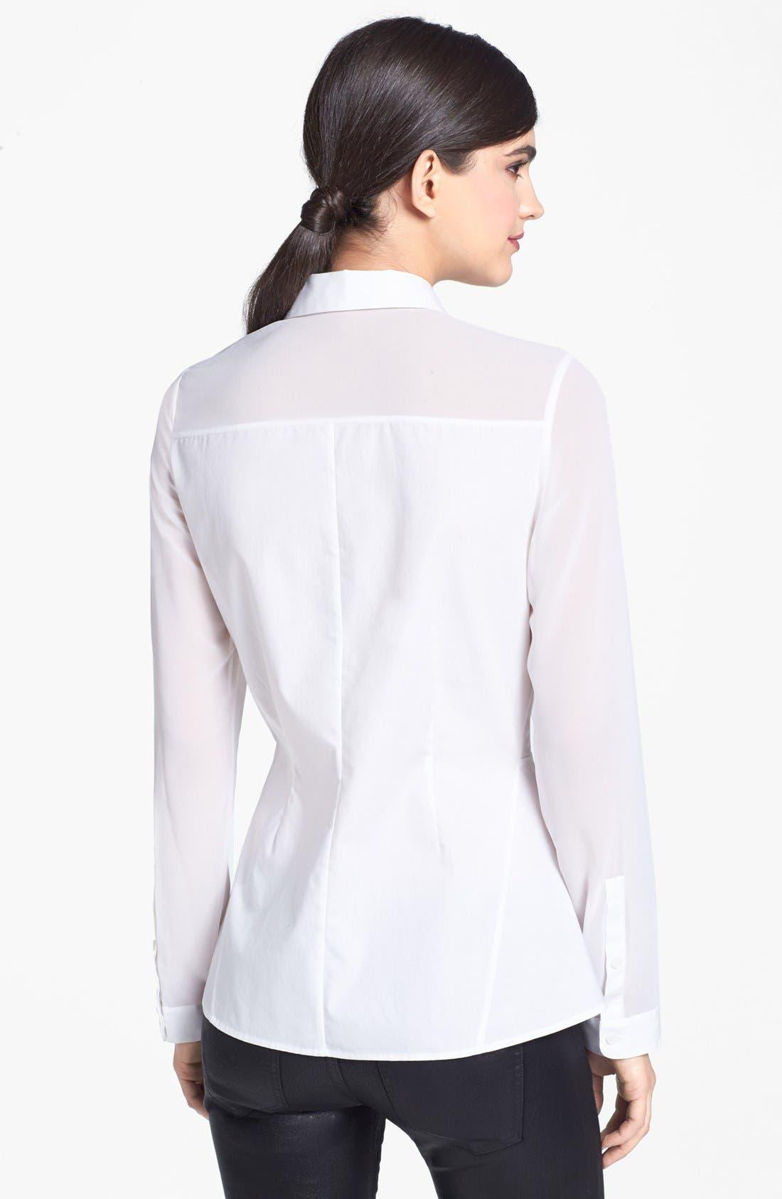 Alternate Image 2  - Trouvé Sheer Mixed Media Peplum Shirt