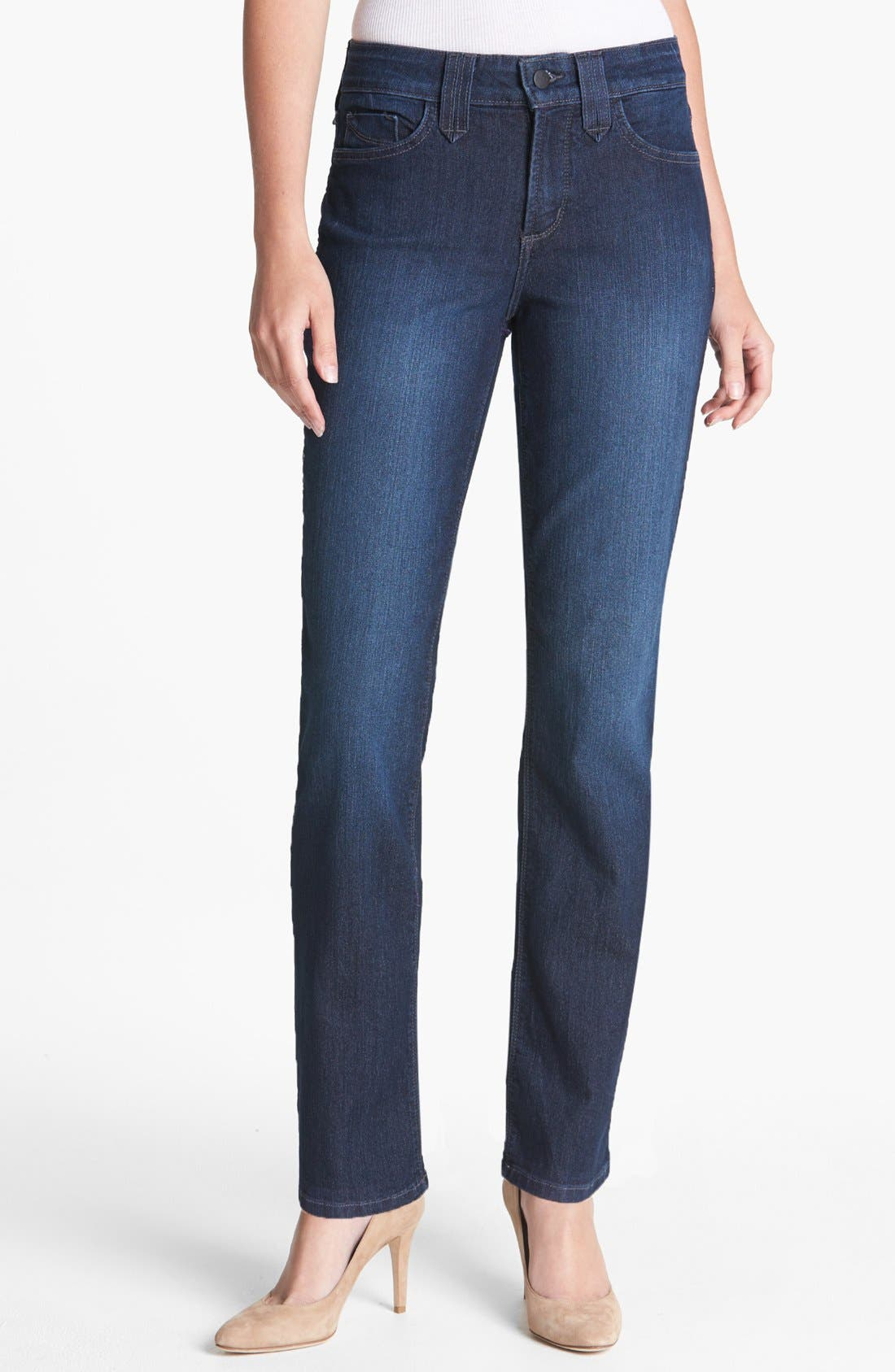 Alternate Image 1 Selected - NYDJ 'Hayden' Stretch Straight Leg Jeans (Burbank) (Short)
