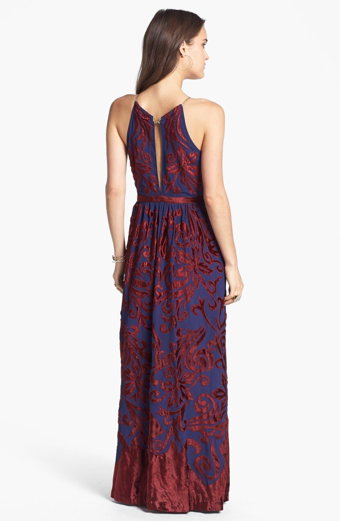 Alternate Image 2  - Free People 'Hedge Maze' Velvet Appliqué Maxi Dress
