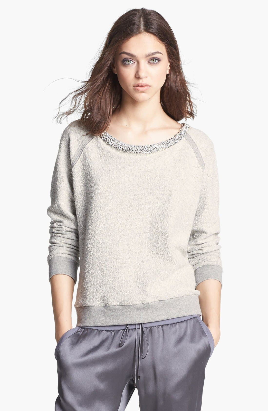 Main Image - Haute Hippie Embellished Neck Inside Out Sweatshirt
