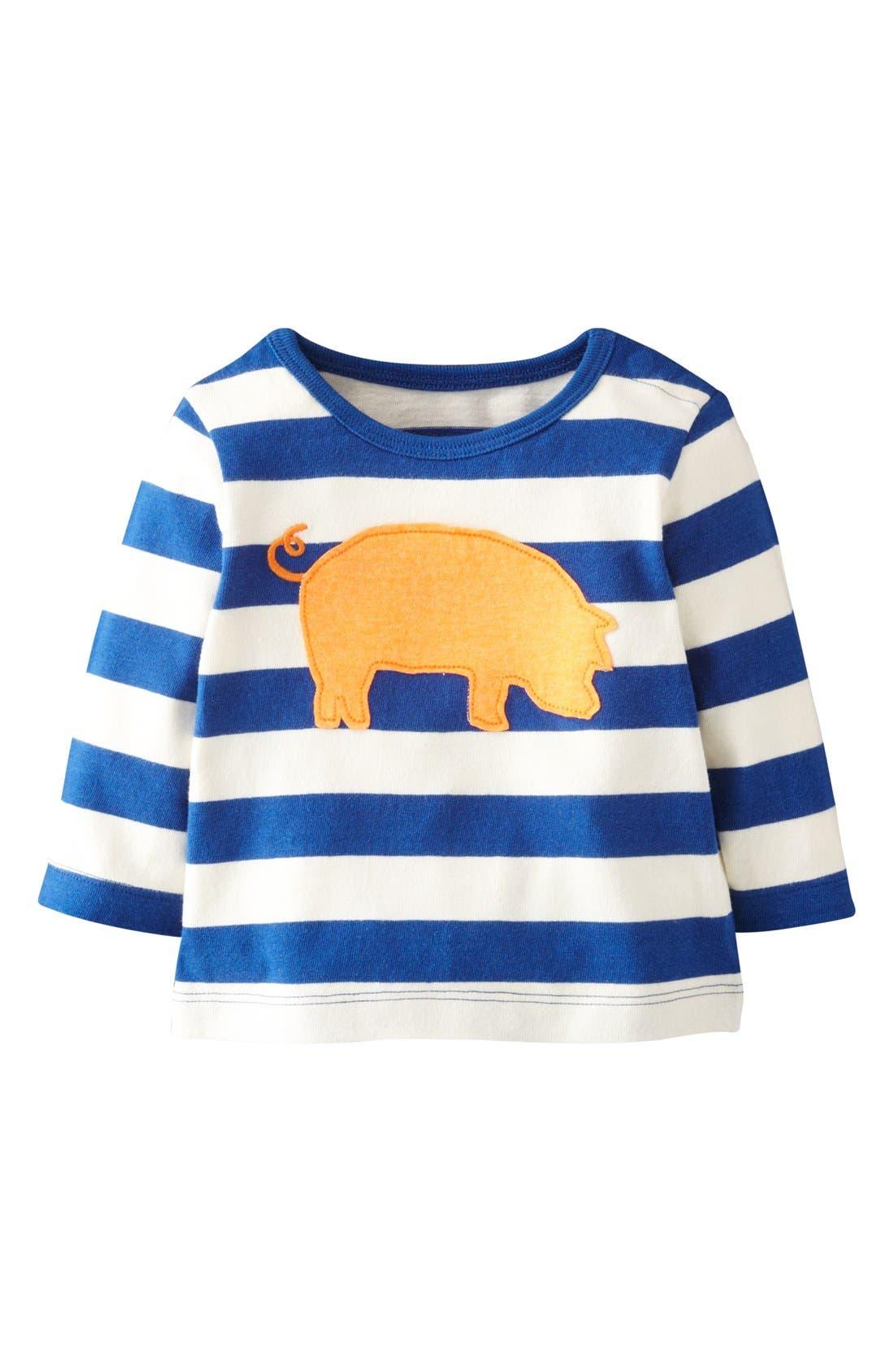 Alternate Image 1 Selected - Mini Boden 'Farmyard Appliqué' T-Shirt (Baby Boys)