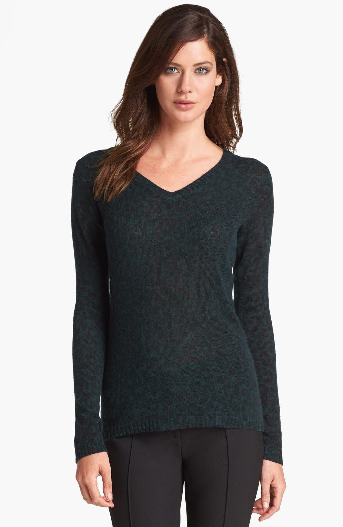Main Image - White + Warren Print V-Neck Cashmere Sweater