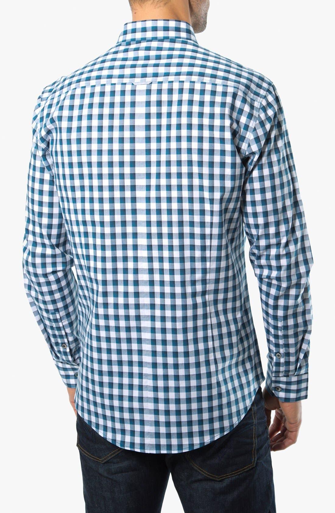 Alternate Image 2  - 7 Diamonds 'One Day Away' Gingham Trim Fit Cotton Sport Shirt