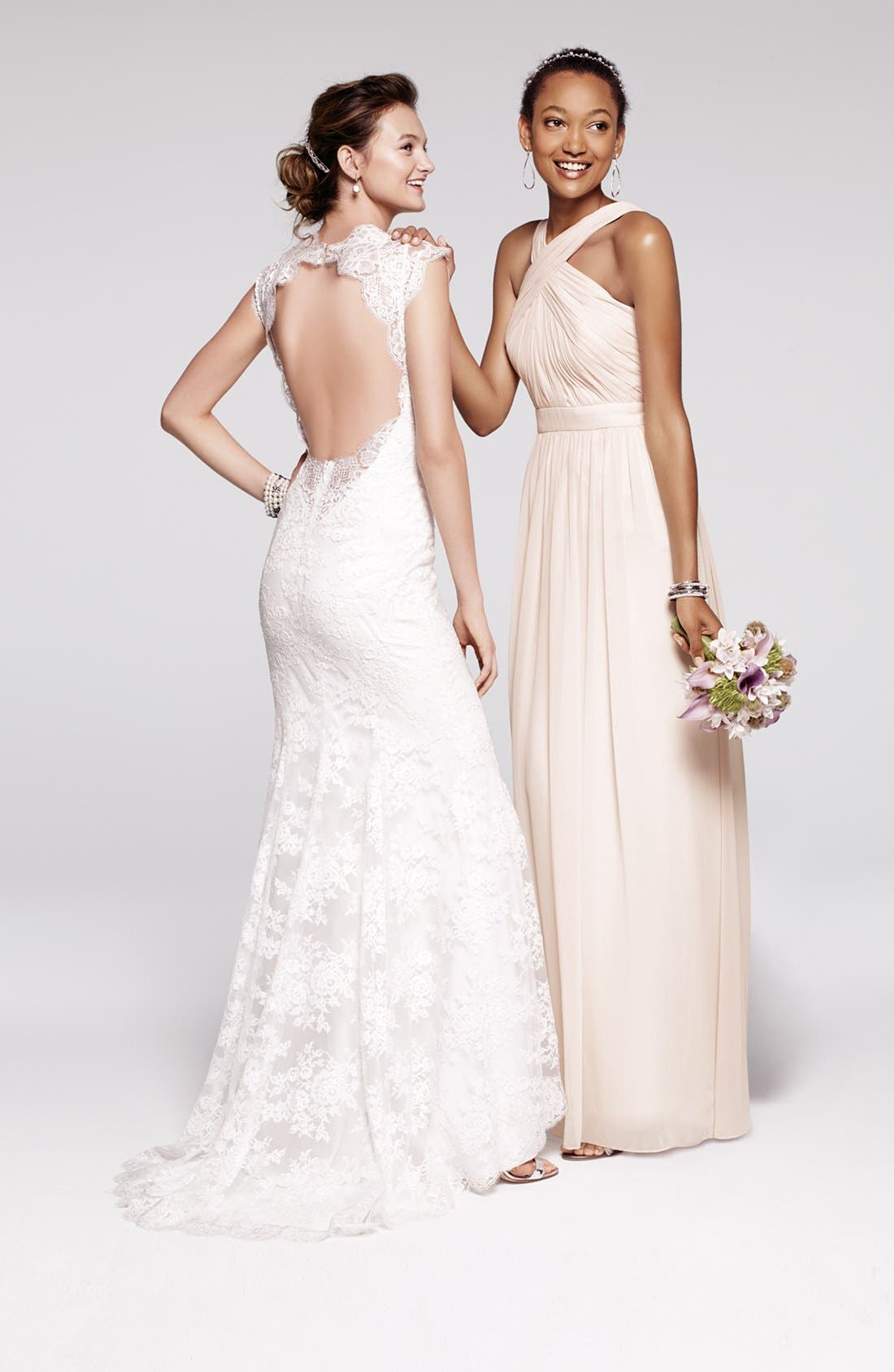 Alternate Image 4  - BLISS Monique Lhuillier Chantilly Lace Open Back Wedding Dress (In Stores Only)