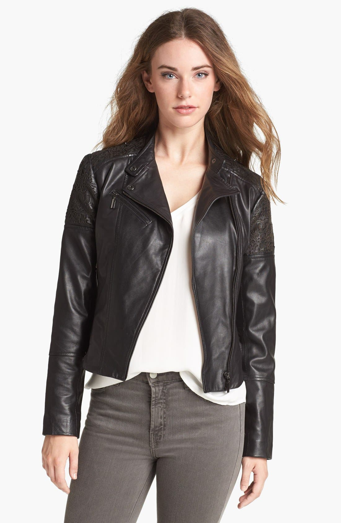 Main Image - Bernardo Cutout Trim Leather Moto Jacket (Nordstrom Exclusive)
