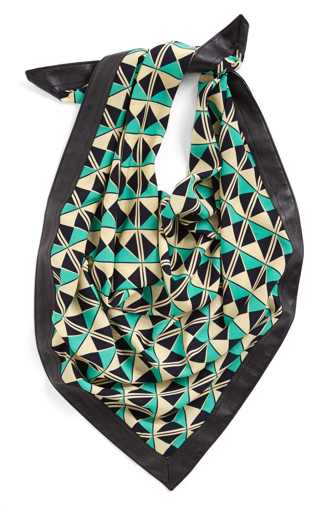 Main Image - Halogen® Graphic Print Scarf with Faux Leather Trim