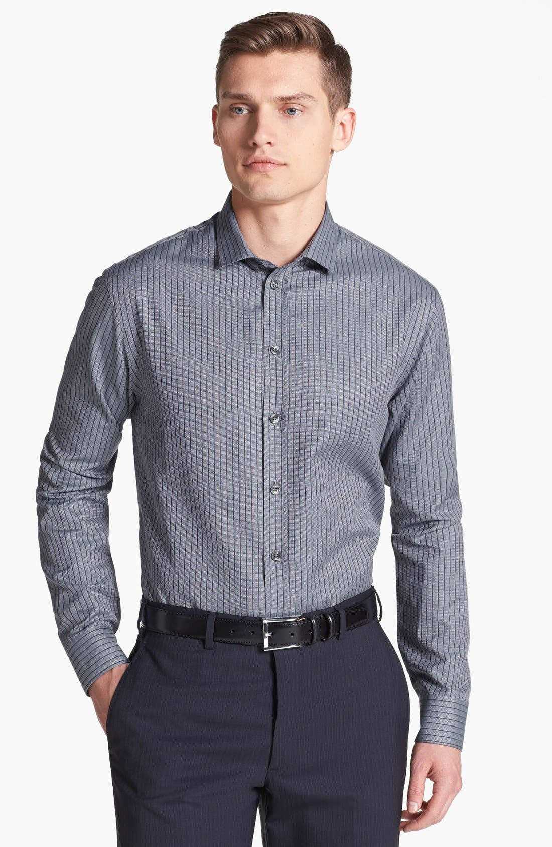 Main Image - Armani Collezioni Modern Fit Stripe Woven Shirt