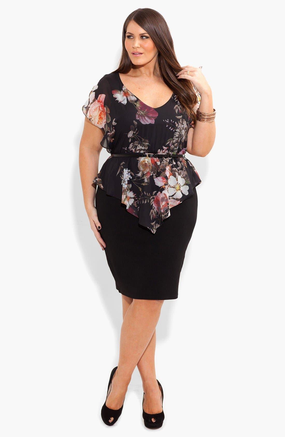 Main Image - City Chic Print Chiffon & Ponte Knit Dress (Plus Size)