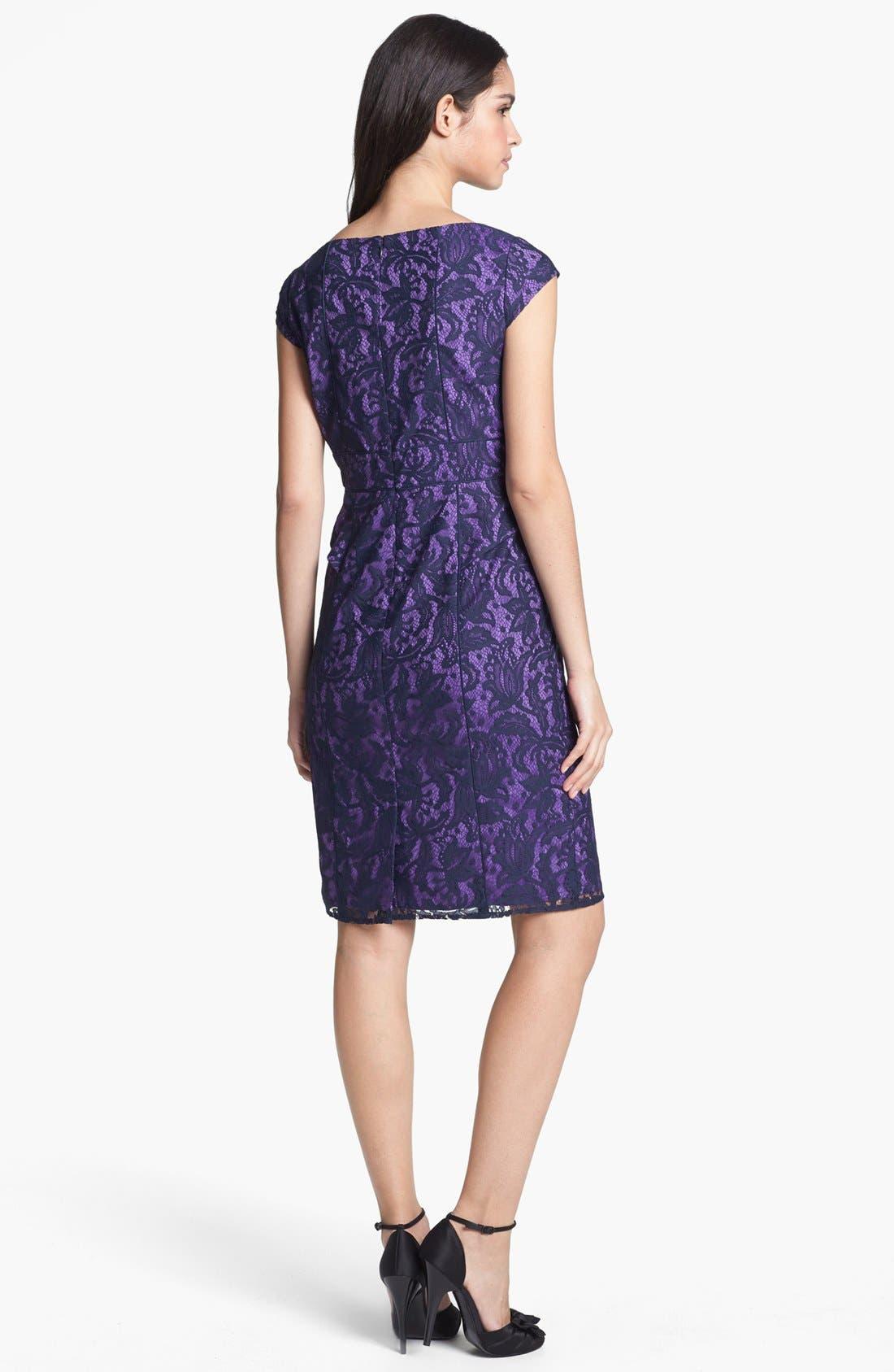 Alternate Image 2  - Adrianna Papell Lace Partial Peplum Sheath Dress