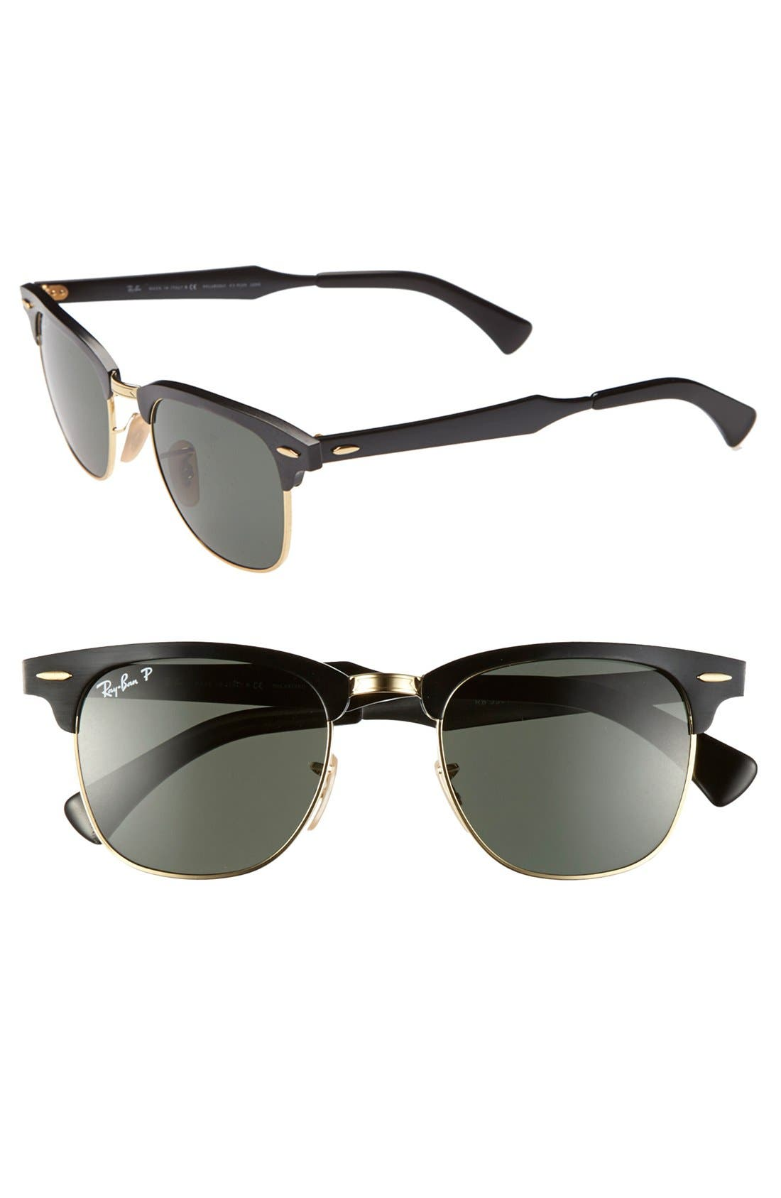 Alternate Image 1 Selected - Ray-Ban Polarized 'Clubmaster' 49mm Sunglasses