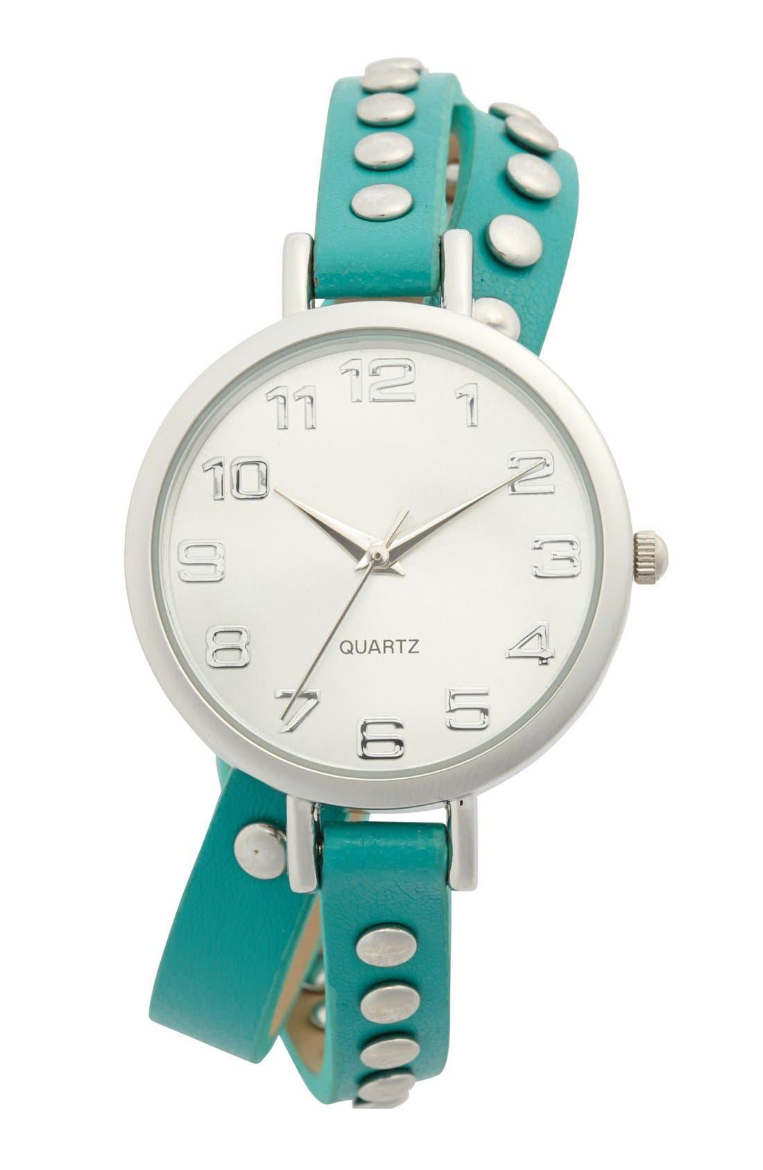 Main Image - Titanium Studded Double Wrap Watch, 35mm (Juniors)
