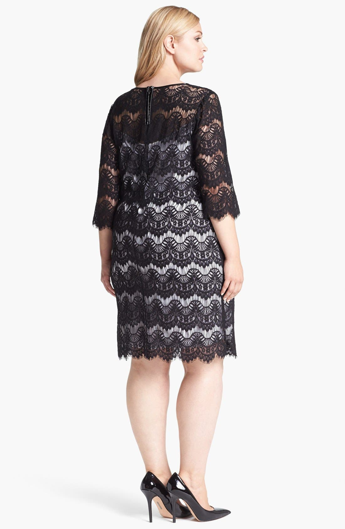 Alternate Image 2  - Calvin Klein Faux Leather Trim Lace Dress (Plus Size)