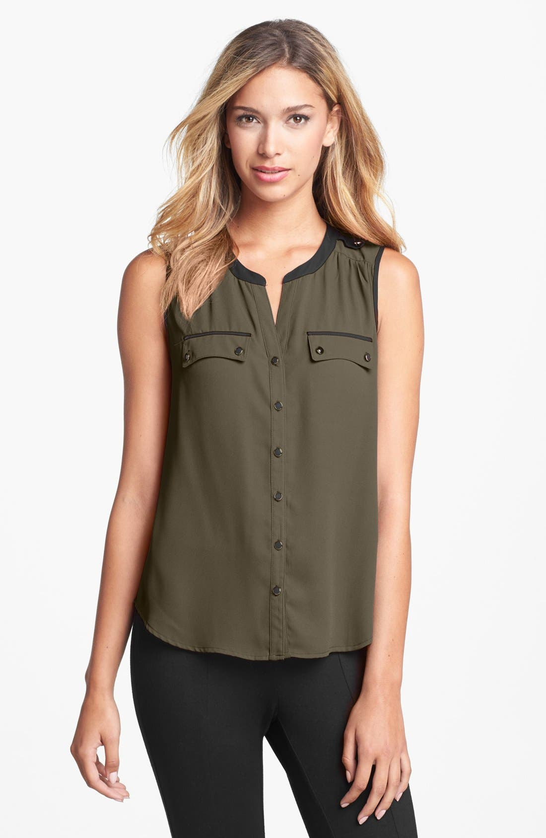 Main Image - Daniel Rainn Contrast Trim Sleeveless Blouse (Petite)