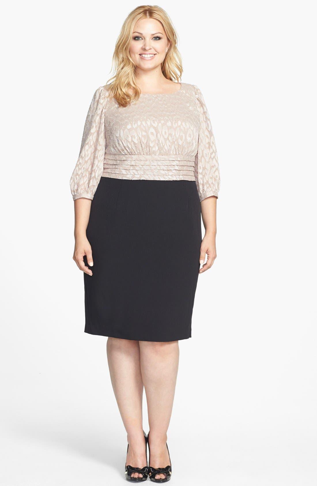 Main Image - Adrianna Papell Mixed Media Sheath Dress (Plus Size)