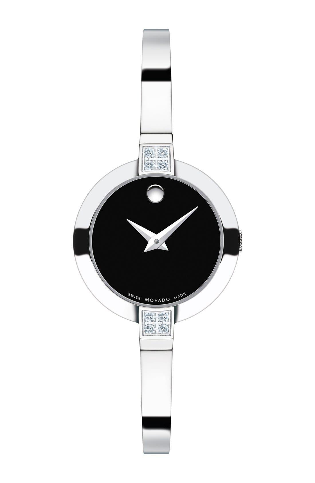 Main Image - Movado 'Bela' Diamond Case Bangle Watch, 25mm