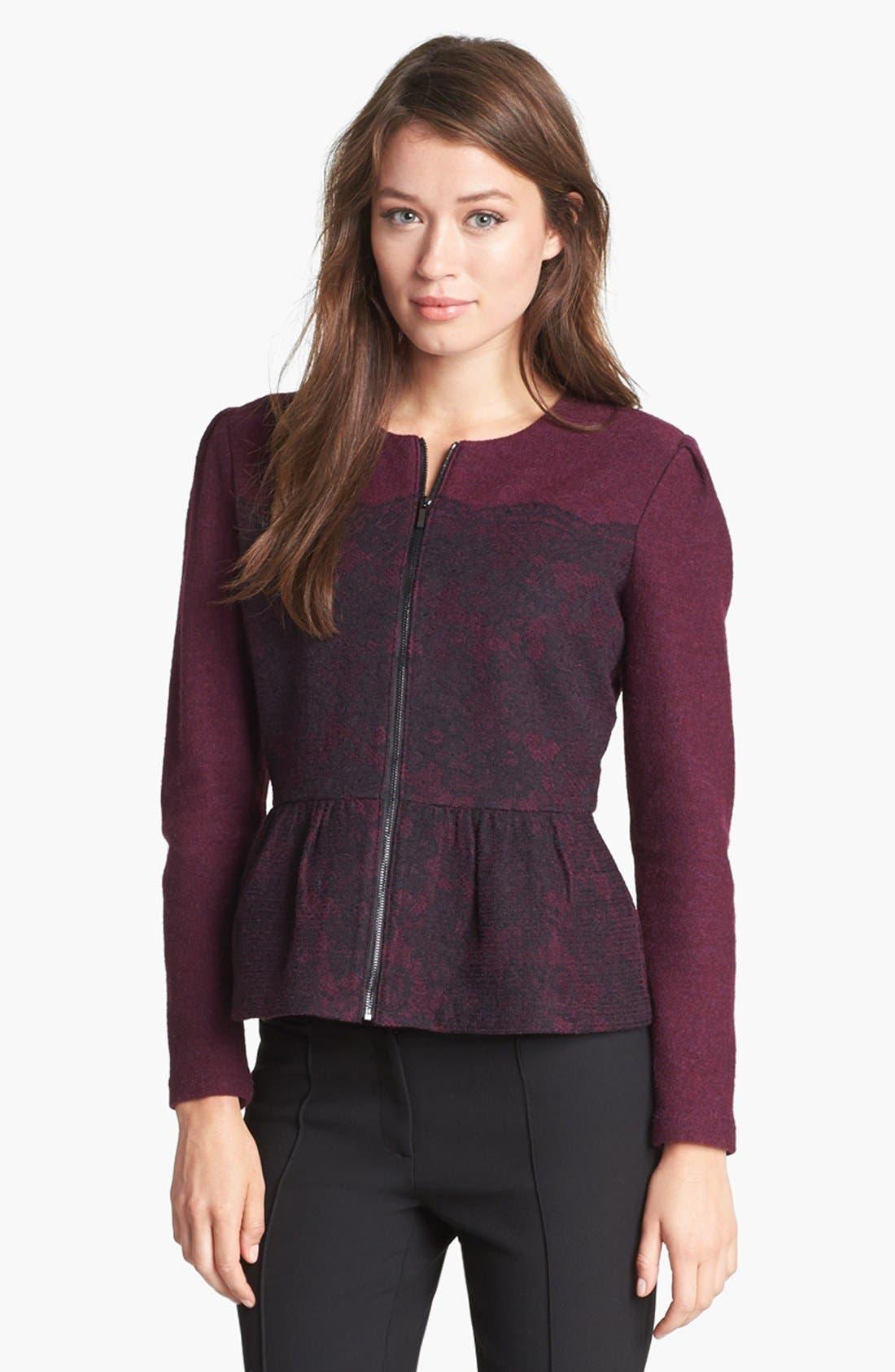 Alternate Image 1 Selected - Classiques Entier® Merino & Lace Zip Cardigan