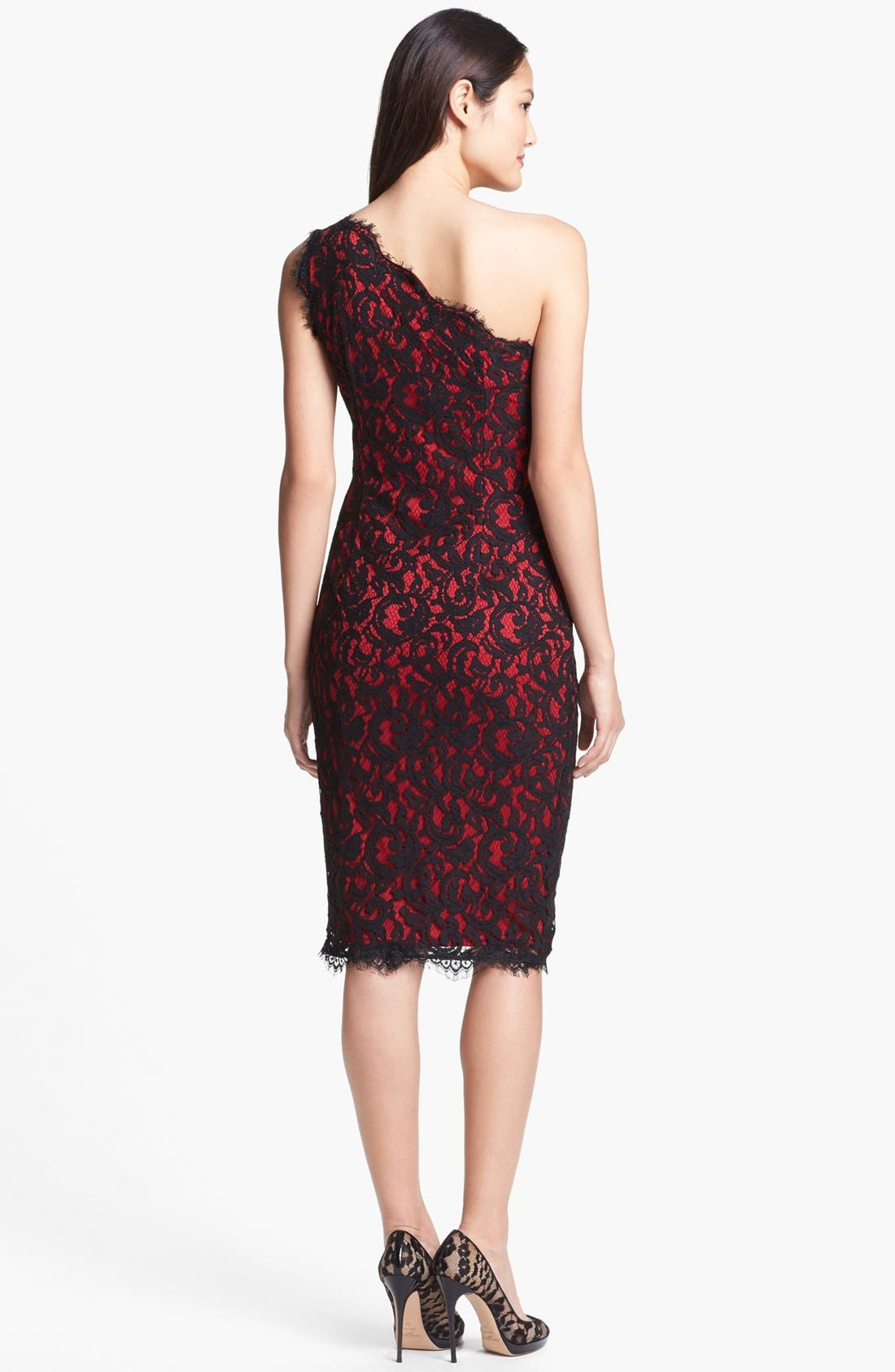 Alternate Image 2  - Tadashi Shoji One-Shoulder Lace Sheath Dress